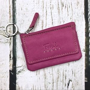 Fossil Pink Leather Coin Keychain Purse